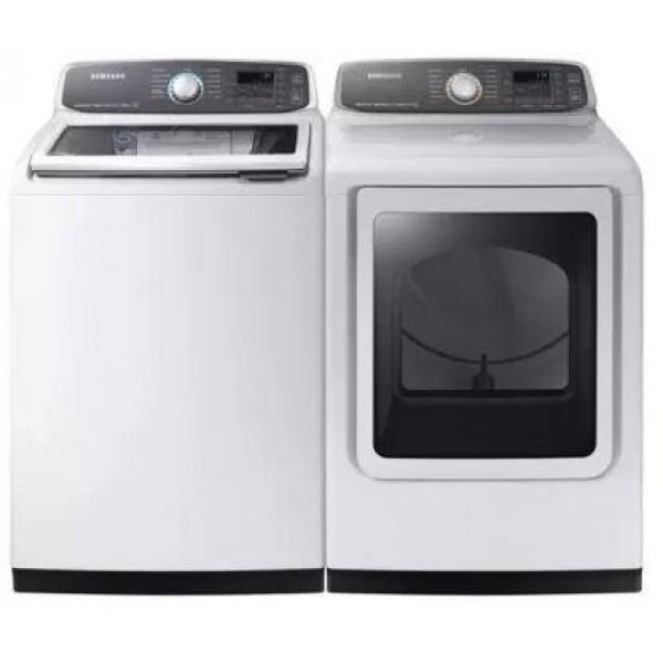 Samsung Laundry Pair Set Top Load Washer WA52M7750AW & Front Load Gas Dryer DVG52M7750W